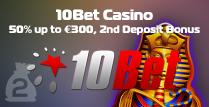 25% 2nd Deposit Bonus at 10Bet Casino