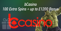 100 Extra Spins and up to £1200 Bonus