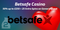 Get a 50% Bonus up to £250 Plus 25 Extra Spins On Gonzo's Quest By Betsafe Casino
