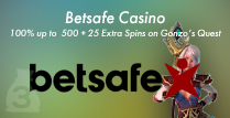 Get a 100% 3rd Deposit Bonus up to £500 Plus 25 Extra Spins On Gonzo's Quest By Betsafe Casino