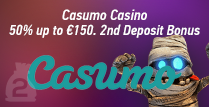 Get a 50% 2nd Deposit Bonus up to €150 while Playing In Casumo Casino