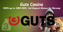 3rd Deposit Bonus of 100% up To 3000 NOK for Norway Players by Guts Casino