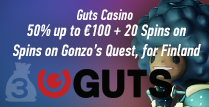 Get 50% up to €100 Plus 20 Spins Playing Guts Casino Gonzo's Quest In Finland