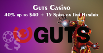 Get a 40% Reload Bonus of 40% up to $40 While Playing Guts Casino's Jimi Hendrix