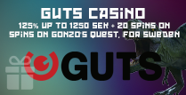 125% Up To 1250 SEK Guts Casino on Gonzo's Quest For Sweden Players