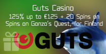 125% Bonus up to €125 by Guts Casino on Gonzo's Quest, for Players in Finland
