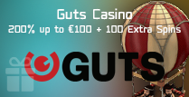 200% Bonus up to €100 Plus 100 Extra Spins by Guts Casino