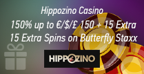 Get 150% up to £150 plus 15 Extra Spins at Hippozino Casino
