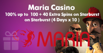 100% Welcome Bonus up to £100 and 40 Extra Spins