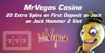 20 Free Spins on Jack Hammer 2 Slot by MrVegas Casino Online