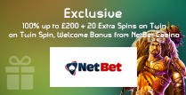 100% Welcome Bonus up to £200 and 20 Extra Spins