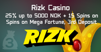 25% 3rd Deposit Bonus on Mega Fortune at Rizk Casino