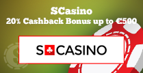 20% Cashback Bonus up to €500 at SCasino