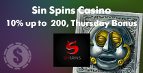 10% up to £200 Thursday Bonus at Sin Spins Casino