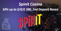 50% Second Deposit Bonus up to $/€/£200 by Spinit Casino Online