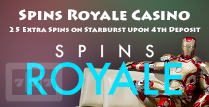 Get 25 Extra Spins on the 4th Deposit For Starburst Players on Spins Royale Casino