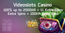 100% Bonus up to 2000KR, 11 Extra Spins and 100KR Extra Cash