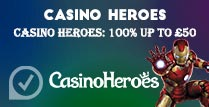 100% up to £50 Welcome Bonus at Casino Heroes