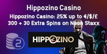 25% up to £300 + 30 Extra Spins at Hippozino Casino