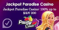 100% up to £200 Welcome Bonus at Jackpot Paradise Casino