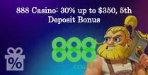 30% up to £350 5th Deposit Bonus