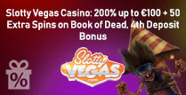 200% up to £100 + 50 Extra Spins on Book of Dead at Slotty Vegas
