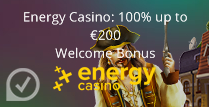 100% up to £200 Welcome Bonus at Energy Casino