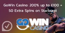 200% up to £100 + 50 Extra Spins on Gowin