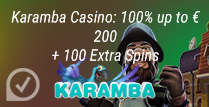 100% up to £200 + 100 Extra Spins at Karamba