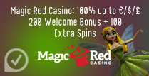 100% up to ‎£200 Welcome Bonus + 100 Extra Spins at Magic Red