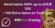 100% up to £200 + 100 Extra Spins at Next casino