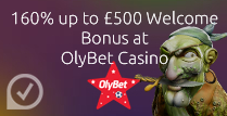 160% up to £500 Welcome Bonus at Olybet casino